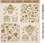 set of gold damask seamless...   Shutterstock .eps vector #691138684