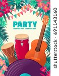 guitar  percussion and conga... | Shutterstock .eps vector #691143160