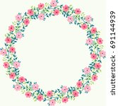 floral round frame from cute... | Shutterstock .eps vector #691144939