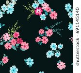 flowery bright pattern in small ... | Shutterstock .eps vector #691145140