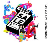 summer sale colorful style... | Shutterstock .eps vector #691145434