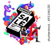 summer sale colorful style... | Shutterstock .eps vector #691146130