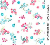 flowery bright pattern in small ... | Shutterstock .eps vector #691146328