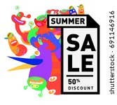 summer sale colorful style... | Shutterstock .eps vector #691146916