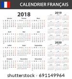 french calendar for 2018  2019... | Shutterstock .eps vector #691149964