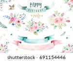 hand drawing isolated... | Shutterstock . vector #691154446