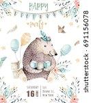 cute baby bear nursery animal...   Shutterstock . vector #691156078