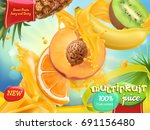 multifruit juice. sweet mix... | Shutterstock .eps vector #691156480