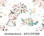 cute baby elephant nursery... | Shutterstock . vector #691159288
