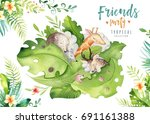 hand drawn watercolor tropical... | Shutterstock . vector #691161388