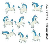 Cute Unicorns Set. Cartoon...