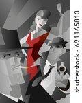 noir pulp black and white mafia ... | Shutterstock .eps vector #691165813
