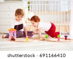 happy kids  brothers playing... | Shutterstock . vector #691166410