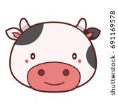 funny and cute cow. vector... | Shutterstock .eps vector #691169578