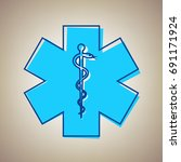 medical symbol of the emergency ... | Shutterstock .eps vector #691171924
