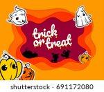 funny halloween paper cartoon... | Shutterstock .eps vector #691172080