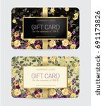 gift cards with a floral... | Shutterstock .eps vector #691173826