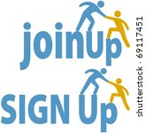 member helps a person sign up... | Shutterstock .eps vector #69117451