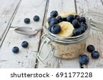 overnight oats with fresh... | Shutterstock . vector #691177228
