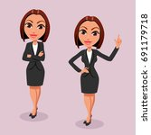 two business women in a strict... | Shutterstock .eps vector #691179718