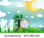 family and green city for life... | Shutterstock .eps vector #691180150