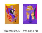 colorful international jazz... | Shutterstock .eps vector #691181170