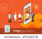 isometric smart mobile health... | Shutterstock .eps vector #691182178