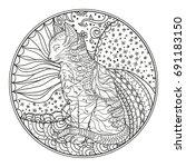 cat. mandala. hand drawn...   Shutterstock .eps vector #691183150