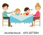 family having meal together... | Shutterstock .eps vector #691187584