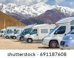 close up motorhomes parked in a ... | Shutterstock . vector #691187608