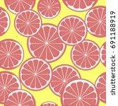 grapefruit pattern | Shutterstock . vector #691188919