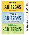 vector set of license plates of ... | Shutterstock .eps vector #691189510