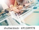 project manager sharing with... | Shutterstock . vector #691189978