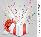 open gift with fly streamer and ... | Shutterstock .eps vector #691192186