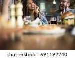 people enjoy food drinks party... | Shutterstock . vector #691192240