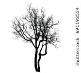 trees black and white  isolated ... | Shutterstock .eps vector #691193524