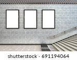 three blank vertical billboard... | Shutterstock . vector #691194064