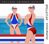 netherlands   female swimmers   ... | Shutterstock .eps vector #691197568