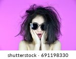 dry and damaged hair problems ... | Shutterstock . vector #691198330