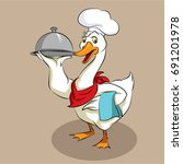 goose   chef   hold plate  ... | Shutterstock .eps vector #691201978