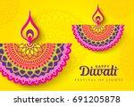 diwali festival greeting card... | Shutterstock .eps vector #691205878
