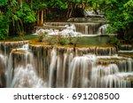 huay mae kamin waterfall in... | Shutterstock . vector #691208500