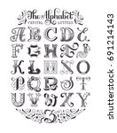 decorative vintage alphabet.... | Shutterstock .eps vector #691214143