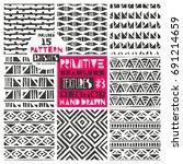 set of 8 primitive geometric... | Shutterstock .eps vector #691214659