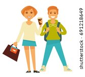 smiling casual man and woman   Shutterstock .eps vector #691218649