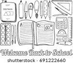 top view of school supplies...   Shutterstock .eps vector #691222660