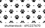 Stock vector dog paw cat paw kitten puppy heart vector seamless pattern wallpaper background 691227670