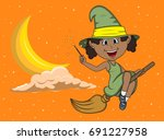 Halloween witches fly with broom stick among the moon and the stars cartoon vector illustration
