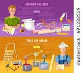 house repair. painter man work...   Shutterstock .eps vector #691233529