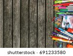 back to school wood background... | Shutterstock . vector #691233580
